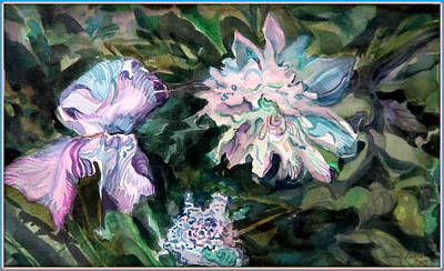 Iris And Peonies Art Print by Mindy Newman