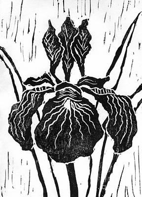 Iris Block Print Print by Ellen Miffitt