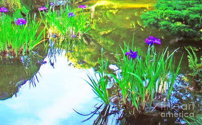 Japanese Tea Garden Painting - Iris In Afternoon Light by Jerry Grissom