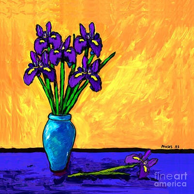 Iris On Yellow Art Print