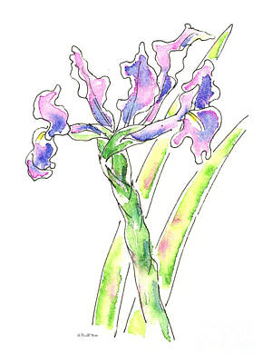 Painting - Iris Watercolor Painting 1 by Gordon Punt