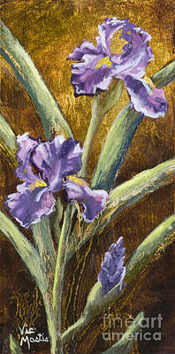 Painting - Iris With Gold Leaf by Vic  Mastis