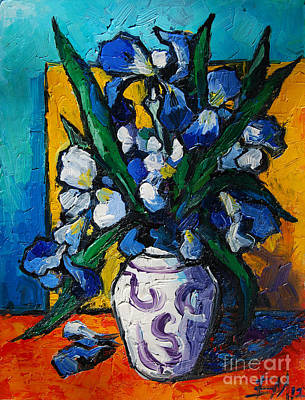 Interior Still Life Painting - Irises by Mona Edulesco