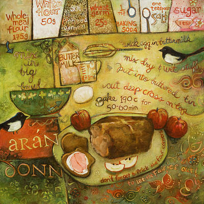 Magpies Wall Art - Painting - Irish Brown Bread by Jen Norton