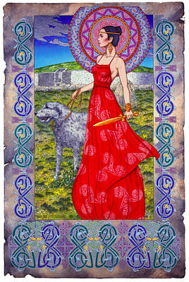 Irish Celtic Fantasy Art Print - Boann Bru Na Boinne Art Print by Jim FitzPatrick