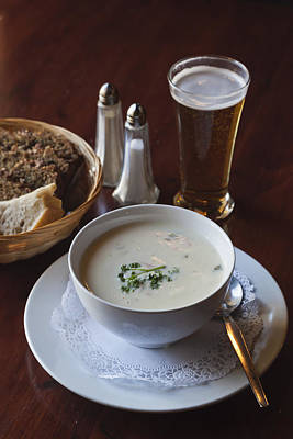 Irish Food Fish Chowder, Beer, Soda Bread Art Print by Ken Welsh