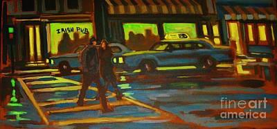 Crosswalk Painting - Irish Pub by John Malone