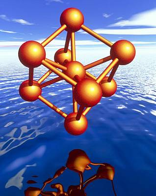 Iron Molecule Over Water Art Print by Pasieka