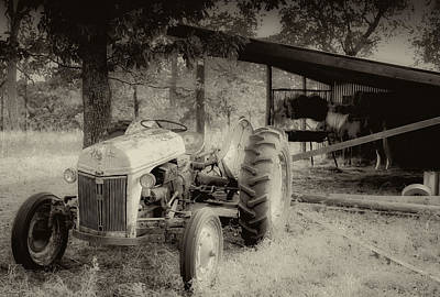 Farm Scene Photograph - Iron Workhorse In Sepia by Tony Grider