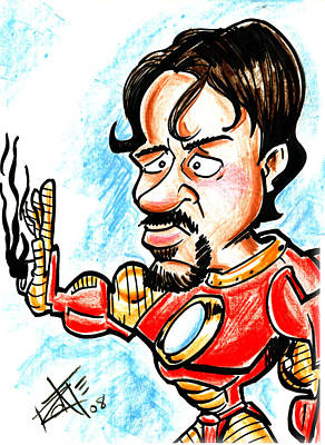 Robert Downey Jr Drawing Drawing - Ironman by Big Mike Roate