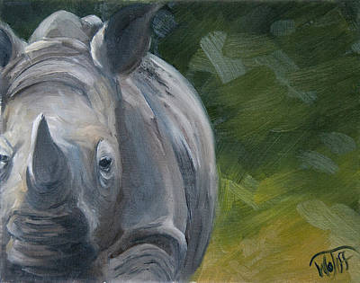 Indian Rhinoceros Painting - Ironsides by Thea Wolff