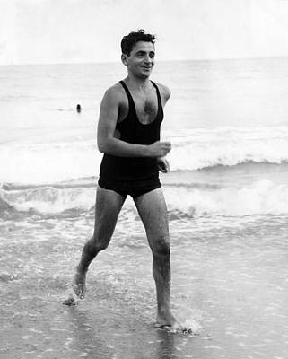 Irving Berlin At The Beach In Palm Print by Everett