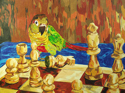 Chess Pieces Painting - Is It My Move by Steve Teets