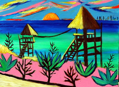 Painting - Isla Mujeres Sunset by Ted Hebbler