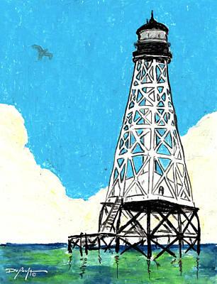 Beach Landscape Mixed Media - Islamorada Lighthouse Alligator Reef by William Depaula