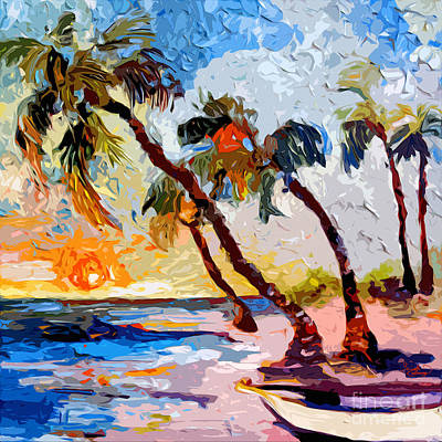 Painting - Island Breeze Palms And Beach by Ginette Callaway