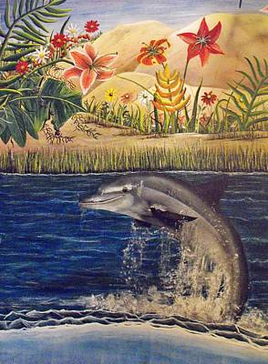 Dolphine Painting - Island Dolphin by Sandy  Hurst
