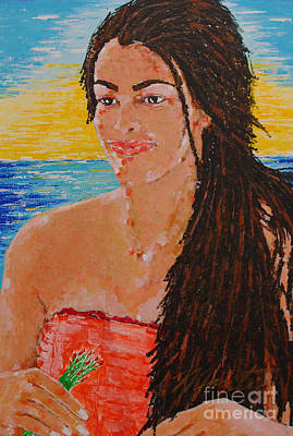 Painting - Island Flower Girl by Art Mantia