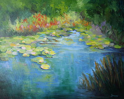 Lilly Pond Painting - Island Pond by Becky Bragg
