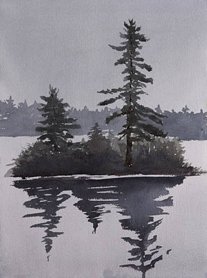 Painting - Island Reflecting In A Lake by Debbie Homewood