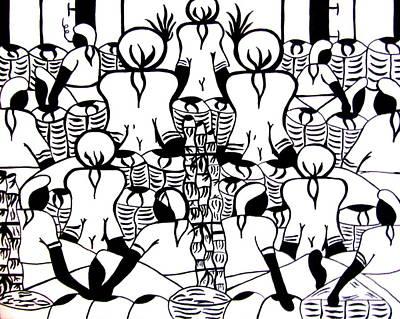 Haitian Drawing - Islanders by Greg Becker