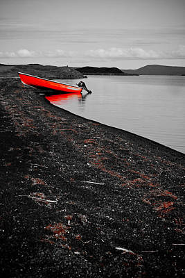 Photograph - Isolated Red Boat In Black And White by Anthony Doudt