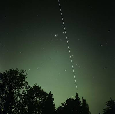 Amateur Astronomy Photograph - Iss Light Trail, Time-exposure Image by Detlev Van Ravenswaay