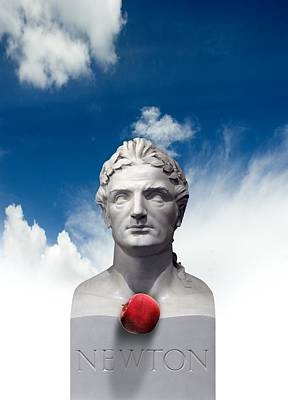 Issac Newton And The Apple, Artwork Art Print by Victor Habbick Visions