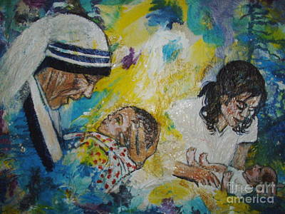 Mother Theresa Painting - It' All For Love by Jocelyne Beatrice Ruchonnet