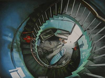 Staircase Painting - It All Starts Here by Caren Bestbier