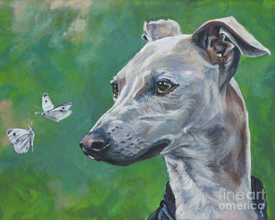 Italian Greyhound With Cabbage White Butterflies Art Print by Lee Ann Shepard