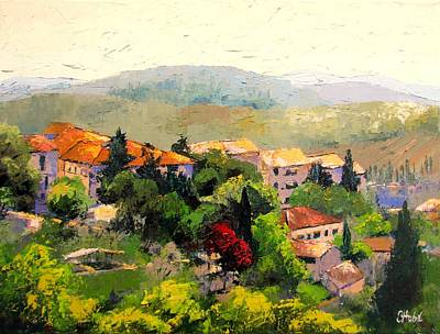 Tuscan Hills Painting - Italian Hillside Village Oil Painting by Chris Hobel