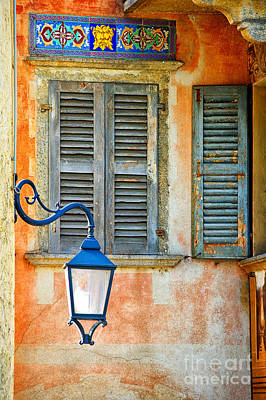 Photograph - Italian Street Lamp With Window And Decorated Wall by Silvia Ganora