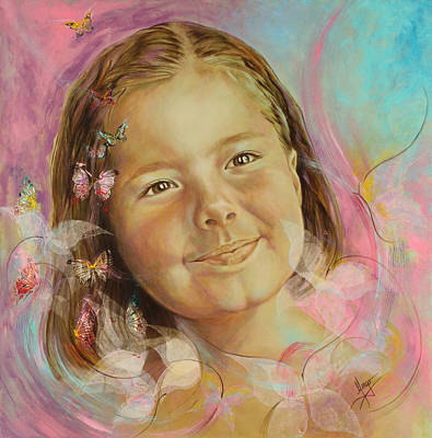 Flower Child Painting - Ivana's Portrait by Karina Llergo