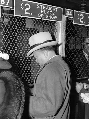 Maryland Horses Photograph - J. Edgar Hoover Placing A Bet by Everett