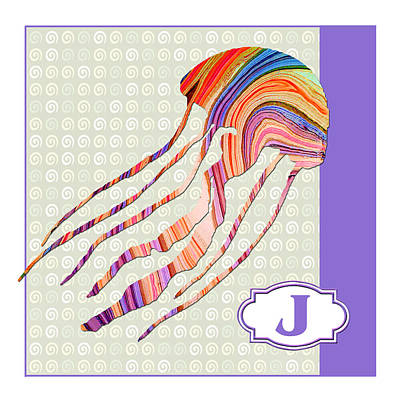 Education Painting - J Is For Jellyfish by Elaine Plesser