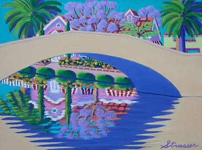 Painting - Jacarandas On Retro Canal by Frank Strasser