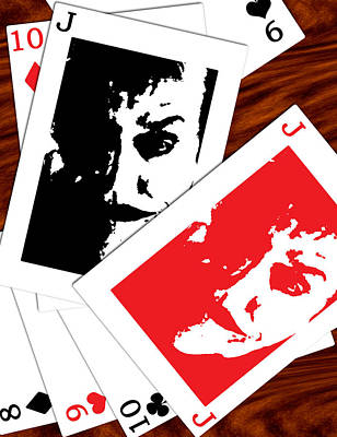 Digital Art - Jack Nicholson - The Joker's Crooked Card Game by Saad Hasnain