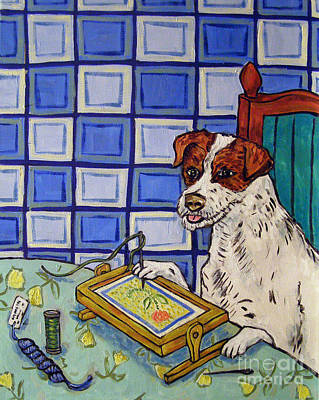 Needlepoint Painting - Jack Russell Terrier Doing Needlepoint by Jay  Schmetz