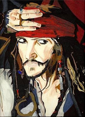 Sharpie Art Drawing - Jack Sparrow Print by Deborah Lepor