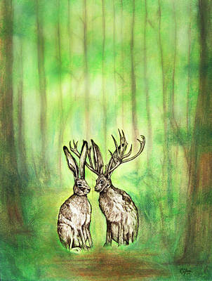 Drawing - Into The Woods by Carrie Jackson