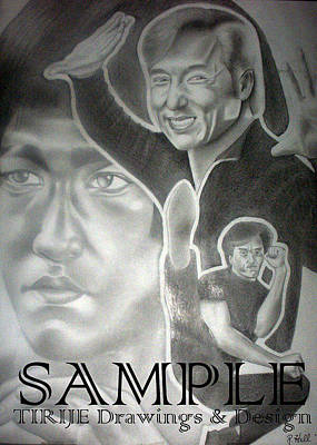 Album Covers Drawing - Jackie Chan And Bruce by Rick Hill