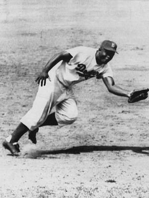Jackie Robinson, Fielding Third Base Print by Everett