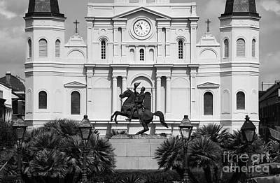 Jackson Statue And St Louis Cathedral French Quarter New Orleans Black And White Art Print by Shawn O'Brien