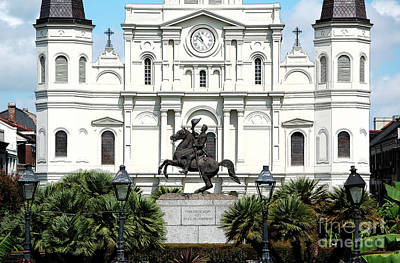 Jackson Statue And St Louis Cathedral French Quarter New Orleans Ink Outlines Digital Art Art Print by Shawn O'Brien