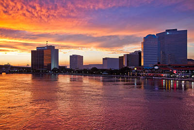 Jacksonville Skyline At Dusk Art Print by Debra and Dave Vanderlaan