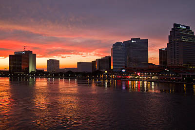 Jacksonville Skyline Night Art Print by Debra and Dave Vanderlaan