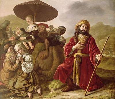 Jacob Seeking Forgiveness Of Esau Art Print by Jan Victoors