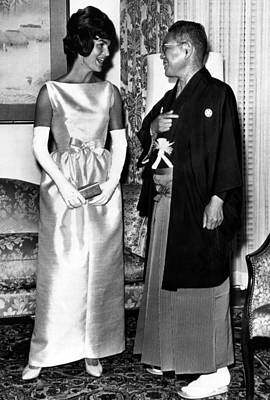 Opera Gloves Photograph - Jacqueline Kennedy, And Japanese Prime by Everett