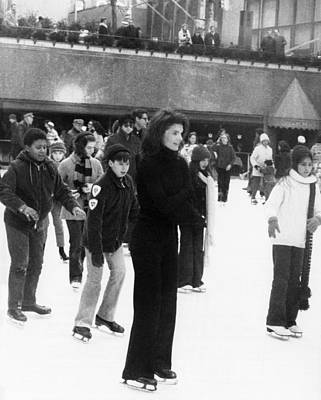 Rs2wn Photograph - Jacqueline Kennedy Onassis Ice Skating by Everett